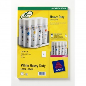 20 Etiquettes Ultra Resistantes Blanches 210x297mm Laser - Avery