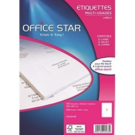 100 Etiquettes Blanches 210x297mm - Office Star