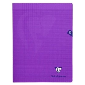 Clairefontaine Mimesys - Cahier polypro 24 x 32 cm - 96 pages - grands carreaux (Seyes) - violet